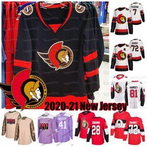 Thomas Chabot Ottawa Senators 2020-21 Jersey Brady Tkachuk Connor Brown Bobby Ryan Craig Anderson Nikita Zaitsev Ron Hainsey Tierney