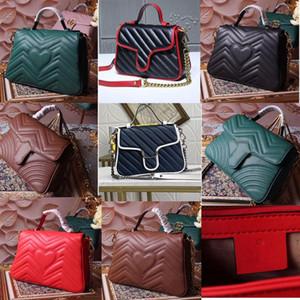 2020 classique Marmont ondulé grand sac à main messager épaule flip sac postier cuir noir pleine 85iC #