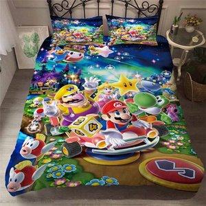 HELENGILI 3D Пододеяльник Mario Party Print пододеяльник Set Bedcloth С наволочки кровать Домашний текстиль # MLA21 KwTO #