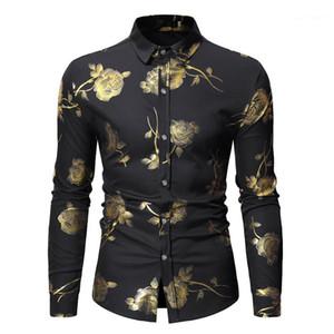 Hommes Designer Chemises Mode Lapel Neck Hommes Chemises simples boutonnage hommes Vêtements décontractés Golden Rose Imprimer