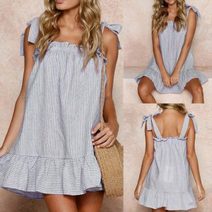 Dress Women Summer Sexy Party Dress Print Striped Beach Women Clothing Linen Sling Sleeveless Mini Dress designer clothes