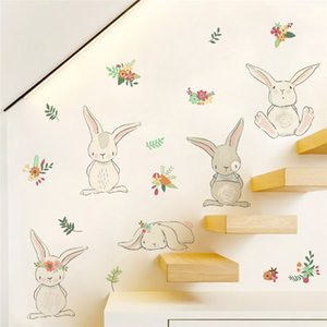 cartoon animal flower wall stickers for kids rooms home decorations pvc wall decals 50*70cm poster diy mural art