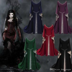 e stili americani Nobiltà vestito delle signore Flutter manica modo copre progettista delle donne Medioevo dell'Europa del vestito