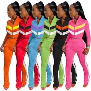 Женщины из двух частей одежды Модельер Color Matching с длинным рукавом Брюки Спортивная Щитовые Верхняя одежда Женские повседневные спортивные костюмы 935