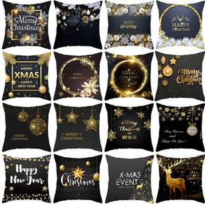 Qifu pele de pêssego Black Gold Natal Abraço fronha capa de almofada Decorações de Natal Para Casa Sofá Fronha Ano Novo 2021