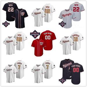 2020 Yeni 31 Max Scherzer # 7 TREA Turner 37 Stephen Strasburg 22 Juan Soto Erkek Kadın Gençlik Özel Otantik Beyzbol Forması