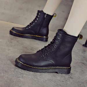 2020 Autumn Genuine Leather Martin Boots Women's New Thick-soled Lace-up Short Boots Children's Side Zipper 8-hole Flat Bottom Women's
