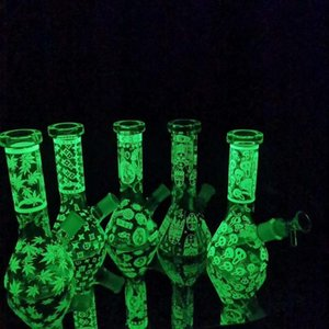 Luminous glass bong new design glass beaker bongs double recycling oil dab rig glass water pipes link kookah smoking pipe Halloween gift