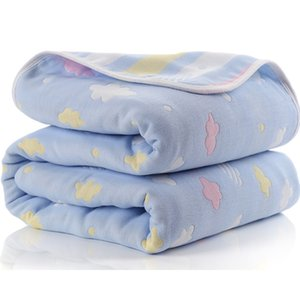 Baby Blanket 110 CM Muslin Cotton 6 Layers Thick Newborn Swaddling Autumn Baby Swaddle Bedding Receiving blanket 200925