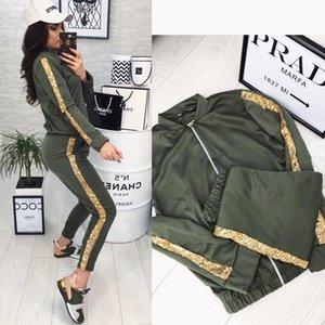 tute delle donne 20FW nuova giacca casual paillettes moda prodotto cucitura di alta qualità pantaloni tute formato S-XL