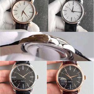 Alto Cellini Tempo rolex everose Dial polido Relógio Mecânico Automático Brown Leather Strap 50505 Perpetual novo polido Mens Watch yix4 #