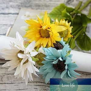 Seda girasol Ramo de la novia para la boda de la Navidad del partido del hogar Floreros Decora productos para el hogar de la flor artificial de plástico