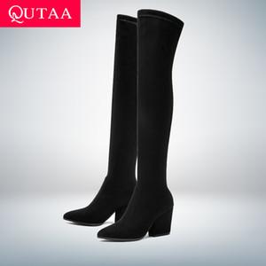 QUTAA 2020 женщин старше колена высоких сапог копыт каблуков зимней обуви Toe Sexy Остроконечного эластичная ткань Женщина сапоги Размер 34-43