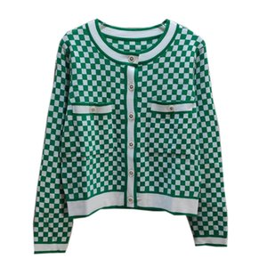 20202020 autumn and winter fashion coat black and white plaid round neck knitted cardigan for women