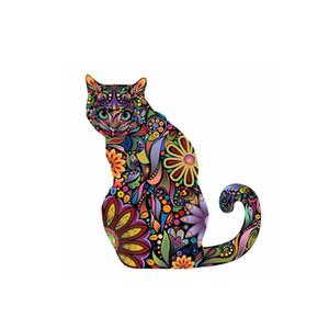 Wall Sticker Home Decor sveglio variopinto del modello del gatto murale bambini in camera Mandala Fiore