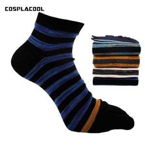 [COSPLACOOL] Striped Homens de Negócios Casual Cotton Tornozeleira Five Finger Socks Men Moda Toe Socks respirável macio Calcetines Hombre
