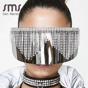Eye Glasses Women Frame Rhinestone Oversized Silver Sunglasses Luxury Mirror Shade Fashion Diamond Men Big Uv400 Mask Protection bdegarden