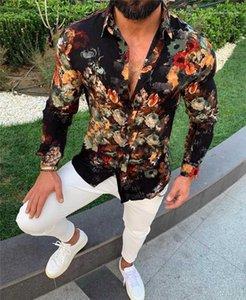Drucken Langarm-Herren-Designer-Hemd-beiläufige Männer Kleidung 3D Digital Print Mens Casual Shirts Mode schlanke Blumen