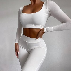 Newest Arrival Women Casual Solid Color Exercise Suits Female Sports Trainning Sets Spring Autumn Slim Elastic Sportsuits