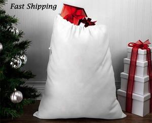 Sublimazione Borse regalo del partito sacchi di poliestere di cotone con coulisse personalizzato in bianco di natale Babbo Natale Capodanno decorazione di festival