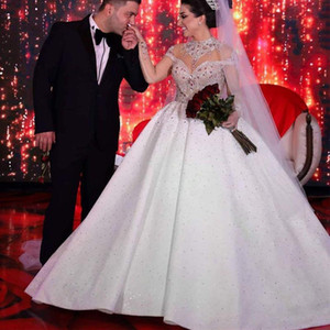 Luxurious Beaded Crystals Arabic Aso Ebi Ball Gown Wedding Dresses 2021 High Neck Long Sleeve Rhinestones Formal Church Bridal Gowns