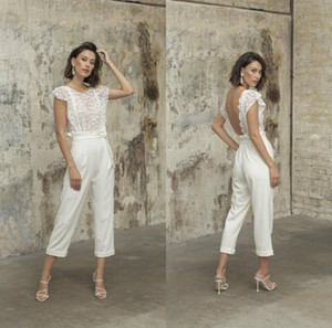 2021 New Backless Jumpsuits Bridal Outfit Beach Wedding Dresses Tea Length Lace Reception Gowns Women Pant Suit