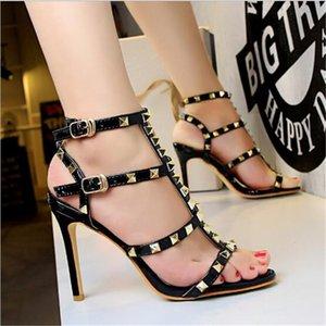 Hot Sale- Summer T-type Double Buckle Retro Metal Rivet Women Sandals Platform PU Leather High Heels Shoes Fashion Woman Rome Sandals
