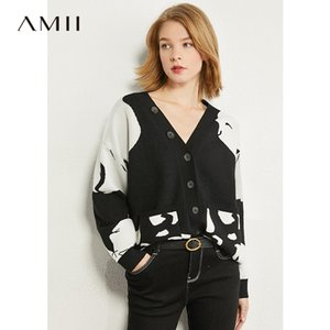 AMII Minimalism Autumn Fashion Frauen Pullover Tops Vneck Haar lose Kontrast Pullover weibliche Cardigan Tops 12070374