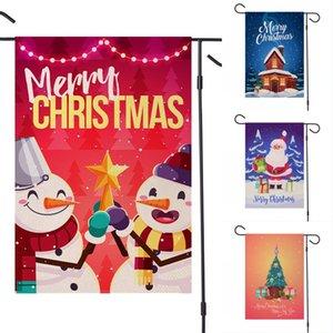 DHL Kargo Noeller Garden Çift Ev Dekoratif Noel Evi Yard Flags Santa Kardan Adam Dekoru Yılbaşı Açık Bayrağı OWE1576 Taraflı