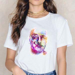 Salvador Dali Art Surreal T-shirt T mignon impression shirt décontracté d'été Harajuku O Neck manches courtes Tops style coréen Top T-shirts
