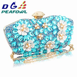 In Stock New Vintage Women blue Beaded Evening Clutch Bags Ladies Box pearl Clutches Wedding Cocktail Party Handbags Purses 200919