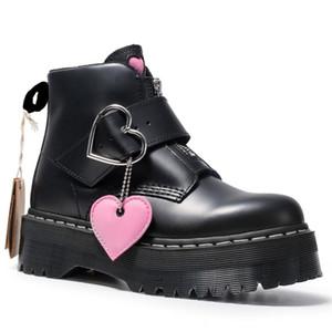 L'alta qualità delle donne Chunky Moto Stivali per le donne Autunno 2022 Moda rotonda Toe Lace-up stivali di combattimento donna calza il formato 34-41