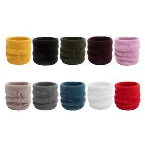 Réchauffez COTTE Automne Hiver chaud creux du cou Col solide Couleur extérieure Collier Faux Boucle simple Tricoté Face Mask Woollen