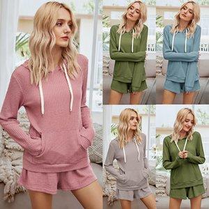 Ternos Ternos mulheres 2020 Queda Novos produtos europeus e americanos Womes Início Mobiliário quente com capuz Tops Shorts