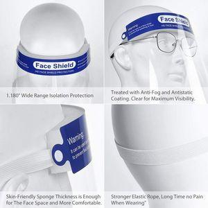 DHL libera la nave libera di protezione del lato Shield Maschera PET completa protezione del viso Isolamento Maschera anti-fog protezione Oil cappello della mascherina Shield