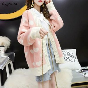 Sweaters Women Print Ulzzang Lovely Womens Sweet V neck Cardigan Outwear for Oversized Korean Style Detailed All match Daily New