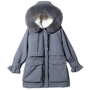 Frauen-Art- und Parkas Fest Farbe Frauen Mantel mit Fellkragen Baumwolljacke Mantel der neuen Ankunfts-Frauen für Herbst-Winter-Casual Wear Größe S-XL