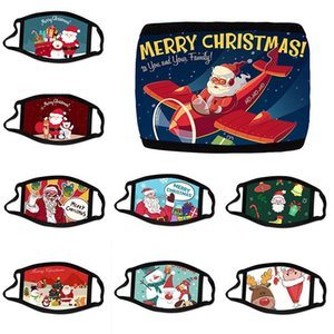 Christmas 3D Printed Face Mask Adult Washable Resuable Cartoon Cotton Mouth Cover Outdoor Santa Claus Designer Masks DDA576