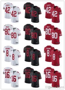 Womens Juventude MensSão Francisco49ers8 Steve Young 16 Joe Montana 42 Ronnie Lott 80 Jerry Rice Customs Red Football Jerseys
