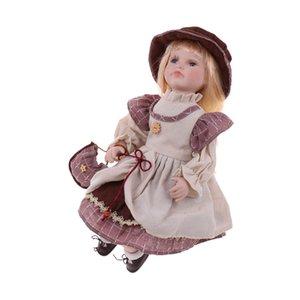 Sitting Porcelain Doll victorienne Lovely, Figures personnes dans Vêtements Hat, enfants cadeaux, décoration de la maison d'affichage