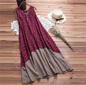 Strand-Kleid-Damen Kleidung Taschen Tiered-Knopf-böhmisches Kleid mit V-Ausschnitt Hot Sleeeveless Mittlere Waden Kleider