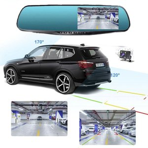 4 4.3 Inch Car Mirror Video Dash Camera Car DVR Mirror FHD 1080P Dual Lens Rear View Camera Car Cam Registratory