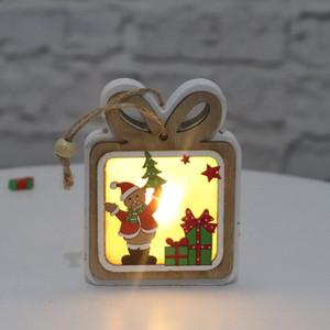 장식품 스 Navidad 요정 라이트 크리스마스 선물을 매달려 나무 중공 라이트 우드 하우스 크리스마스 트리 장식 엘크 산타 클로스 눈사람