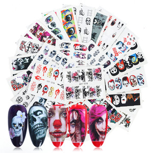 Halloween Nail Art Stickers Kit 25pcs Skull Sexy Girl Water Transfer Decals Charms Nails Tattoo Design Decorations Foil Wraps Sticker Set