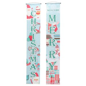 1 Pair of Christmas Door Banner Door Hanging Curtain Home Store Cafe Decor
