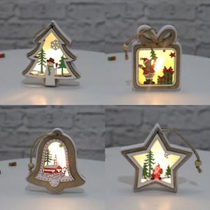 Noel Işıklı Ahşap kolye Merry Christmas Ağacı Bell Hediye Yıldız kolye Parlak Noel Dekorasyon GWF1929 Asma Şeklinde