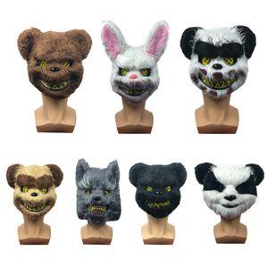 Scary Halloween Lapin Bunny Masque Scary Spooky Spooky Pelud Animal Panda Bear Coiffon Masque Masquerade Party Cosplay Horiables Props VT1595