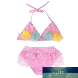 1-3Y Baby Girl Swimwear Summer Two Piece Girls Swimsuit Floral Kid Children Swimming Suit Pink Blue