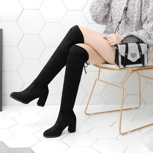 2020 Autumn And Winter New Suede Long Tube Knee-high Boots Round Toe Mid Heel Women's Lace-up Elastic Boots All-match College