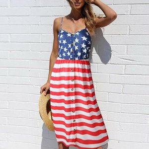 Casual Sleeveless Dress American Independence Day Women Dress Designer Printed Suspenders National Flag Female Dresses Loose 3D Thin
